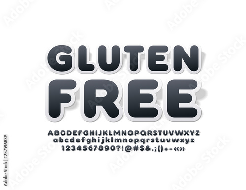 Vector trendy emblem Gluten Free with ticker Font  Black and White