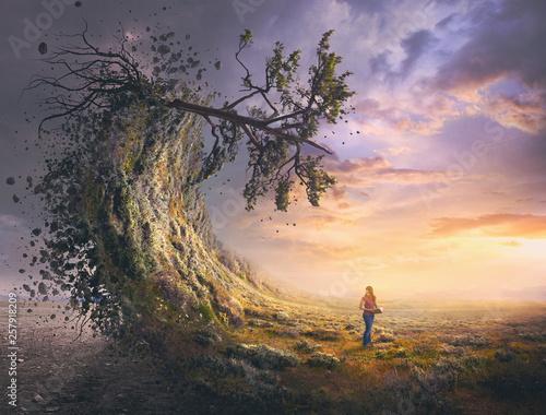 Valokuvatapetti Surreal landscape and woman