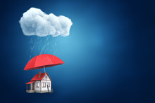 3d Rendering Of A Big Red Umbrella Protecting A Little Detached House From The Thick Raining Cloud On Blue Background With A Lot Of Copy Space.