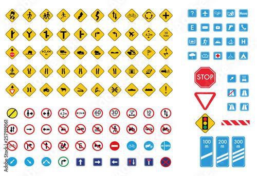 Cuadros en Lienzo Gran colección de signos de tráfico.