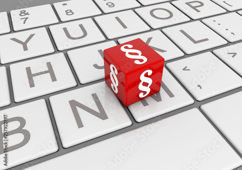 Fotografie, Obraz  Paragraph Zeichen, roter Würfel auf Tastatur