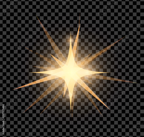 Obraz Gold bright glowing and shining star flares effect isolated on transparent background. Vector illustration - fototapety do salonu