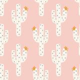 wektor bez szwu kaktus wzór z białym kaktusa i golen kwitnie na różowym tle - 257925878