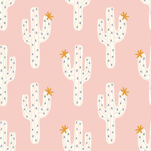 Vector Seamless Cactus Pattern With White Cactus And Golen Blooms On A Pink Background
