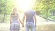 Couple In Love Walking At Sunset. Slow Motion