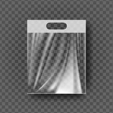 Plastic Hanger Pocket Bag Vector. Transparent Hang Bag Wrap. Empty Product Polyethylene Mock Up Template. Nylon Doy Pack Branding Design Package Illustration
