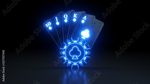 Fotografía  Online Casino Royal Flush in Clubs Poker Cards With Neon Lights Isolated On The