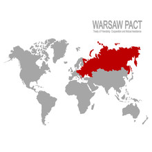 Vector World Map With Warsaw P...
