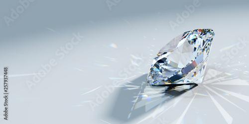 Türaufkleber Makrofotografie Close-up round brilliant cut diamond with caustics rays on light blue background, side view