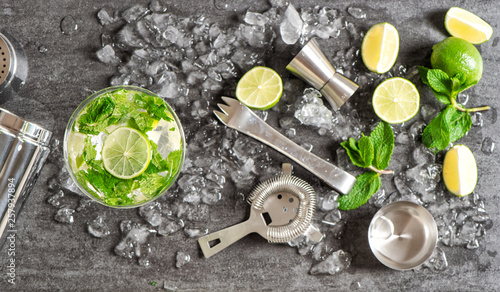 Fotografie, Obraz  Bar accessories ingredients cocktail drink Alcoholic nonalcoholic