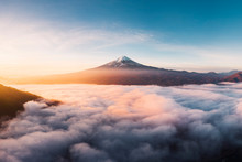 View Of Foggy Lake With Mount Fuji During Sunrise