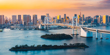 View Of Rainbow Bridge In Tokyo At Sunset