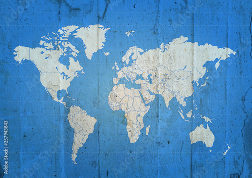Keuken foto achterwand Wereldkaart World map blue grunge concrete background