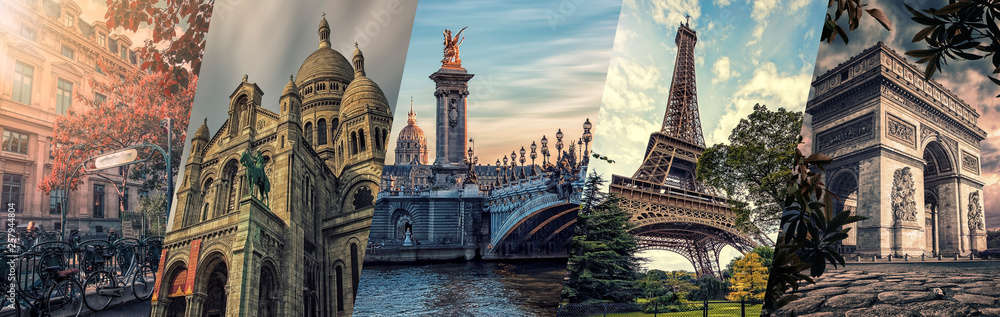 Fototapeta Paris famous landmarks collage