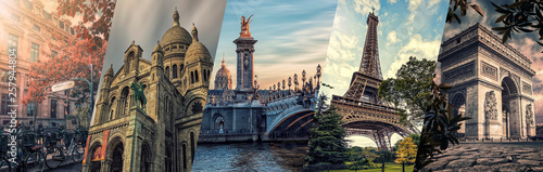 Paris famous landmarks collage