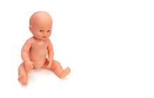 Baby Doll Toy On White Background.