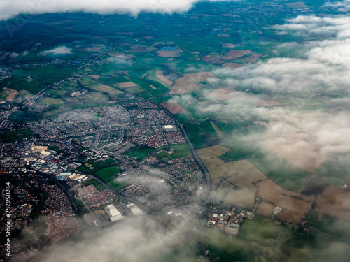 Fotografie, Obraz Mid Air view of English Countryside