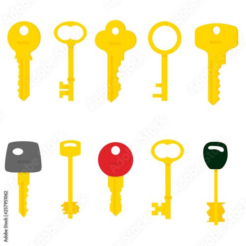 Obraz na płótnie Illustration of Flat key logo isolated on white background