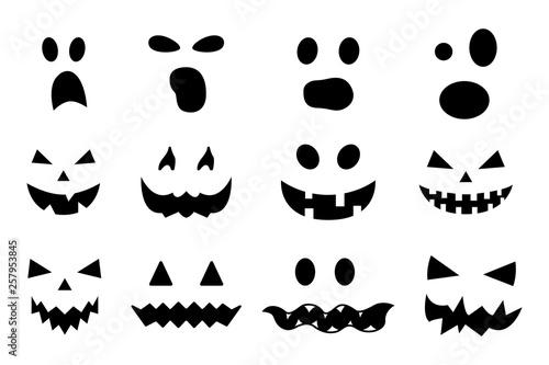 Valokuva  Vector set of Halloween pumpkin faces isolated on white background