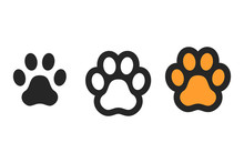 Dog Paw Print. Footprint. Vector Icons Isolated