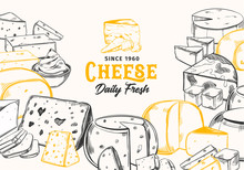 Sliced Chunks Of Sketched Cheese For Shop Banner