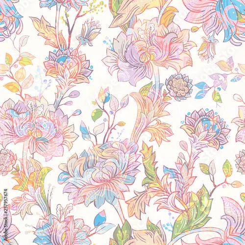 Fotografie, Tablou  Jacobean seamless pattern