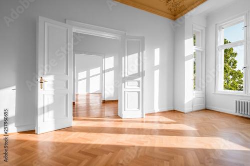 Fototapeta Empty apartment , vacant flat in german Gruenderzeit building - real estate  - obraz na płótnie