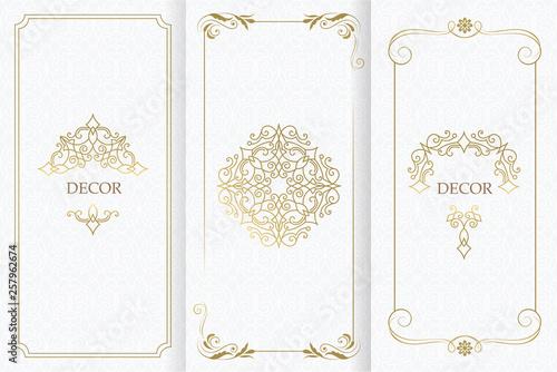 Fototapeta Ornate decor, border for invitation, card. Flourishes ornaments cards. obraz