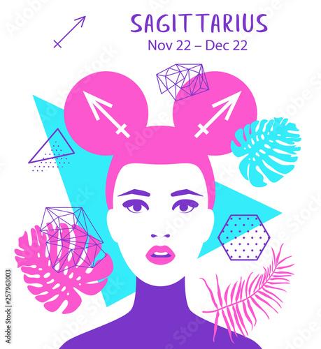 Sagittarius Zodiac Sign Girl Vector Illustration Astrology Zodiac