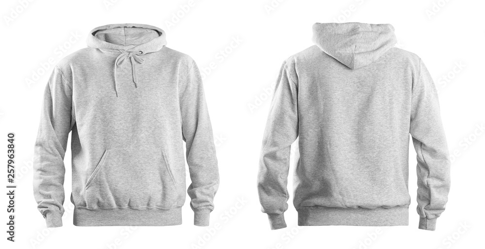 Fototapeta Set of stylish hoodie sweater on white background, front and back view. Space for design