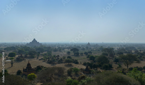 Printed kitchen splashbacks Turkey Beautiful panoramic view of the Bagan temples and pagodas in morning mist, Myanmar.