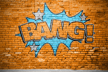 Bang! Comic Ziegelsteinmauer Graffiti