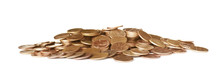 Pile Of US Coins Isolated On White