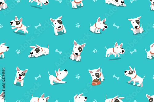 fototapeta na ścianę Vector cartoon character bull terrier dog seamless pattern for design.