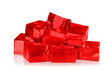 canvas print picture - Heap of red jelly cubes on white background