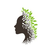 Face Silhouette With Leaves