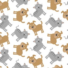 Seamless pattern with cut dogs and cats. Vector illustration.