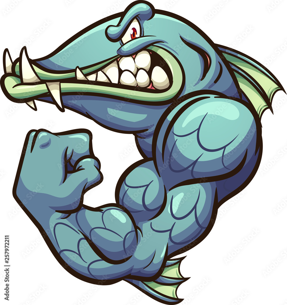 Fototapeta Strong angry cartoon barracuda fish mascot clip art. Vector illustration with simple gradients. All in a single layer.