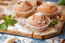 Sweet Muffins. Homemade Bakery On Wooden Background. Berry Muffins