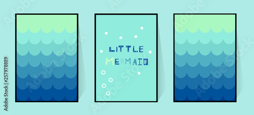 Photographie  Three posters with a mermaid gradient blue tail