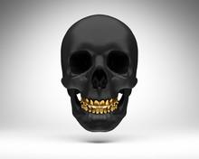 Schwarzer Schädel Mit Goldenen Zähnen