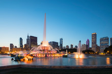 USA, Illinois, Chicago, Skyline, Millennium Park With Buckingham Fountain At Blue Hour