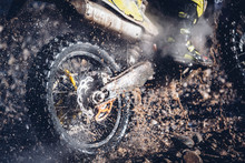 Motorcyclist Crosses A River With Motocross Motorcycle