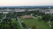 Nashville Parthenon At Sunset, Panning Aerial