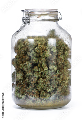 glass jar full of cannabis Fototapeta