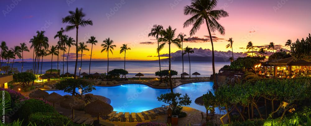Fototapeta Tropical resort with sunset