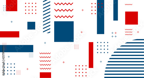 Memphis style covers set with geometric shapes and patterns Canvas Print
