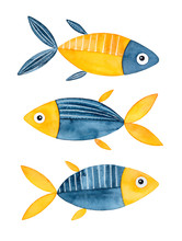 Abstract Funny Multicolored Watercolour Fishes With Big Funny Eyes. Dark Blue And Bright Yellow Colors. Handdrawn Water Color Graphic On White, Cut Out Clip Art Elements For Print And Creative Design.