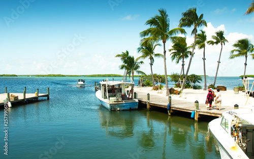 Canvas Print View of a marina at the gulf side (west) of the island, Islamorada, Florida, USA