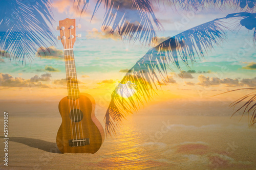 Ukulele instrument on tropical beach background with palms and sky